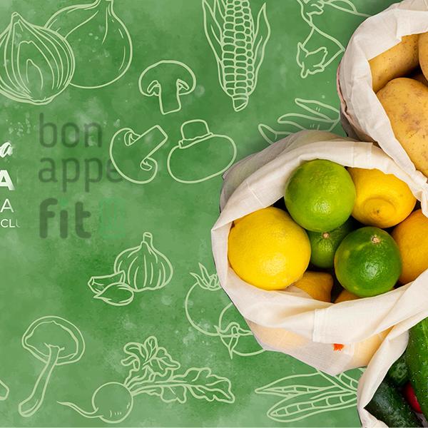 Mapa Polski z logo bonappefit i warzywami